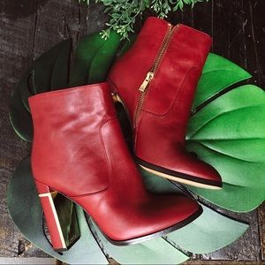 Calvin Klein Karlia Red & Gold Ankle Boot